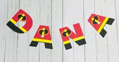 Your place to buy and sell all things handmade Birthday Centerpieces, Birthday Decorations, 2nd Birthday Parties, 4th Birthday, Incredibles Logo, Incredibles Birthday Party, Cute Letters, No Time For Me, My Design