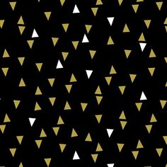 Bold & Gold Metallic Floating Triangle Black from For Windham Fabrics, this cotton print fabric is perfect for quilting, apparel and home decor accents. Colors include white, black and accents of metallic gold.
