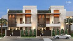 Elevation designed for client at Green Field, Ludhiana Row House Design, Duplex House Design, Modern House Design, House Architecture Styles, Architecture Details, Architecture Colleges, India Architecture, Modern Townhouse, Mansion Interior
