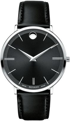Movado Watch Ultra Slim #add-content #bezel-fixed #bracelet-strap-leather #brand-movado #case-depth-6-3mm #case-material-steel #case-width-40mm #classic #delivery-timescale-call-us #dial-colour-black #gender-mens #movement-quartz-battery #new-product-yes