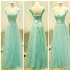 A-line+V-neck+Floor-length+Tulle+Prom+Dresses/Evening+Dresses+#SP7329