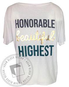Kappa Delta Honorable Beautiful Highest Foil VNeck by Adam Block Design | Custom Greek Apparel & Sorority Clothes | www.adamblockdesign.com