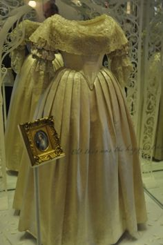 Queen VICTORIA's wedding gown on display at Kensington Palace, London