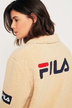 FILA Cream Button-Down Teddy Coat | Urban Outfitters