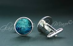 Blue Wave Galaxy Cufflinks, Groomsmen Usher Cufflinks, Wedding Cufflinks, Gift for Him, Shirt Cufflinks, Geekery Outerspace Lovers Gift