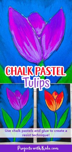 This chalk pastel tulip art project is a great spring activity that kids will love to create! Kids will learn about using glue as a resist technique and layering and blending pastels to create a stunning piece of art. Classroom Art Projects, School Art Projects, Art Classroom, Kid Projects, School Ideas, Art Lessons For Kids, Art Activities For Kids, Art Lessons Elementary, Kids Crafts