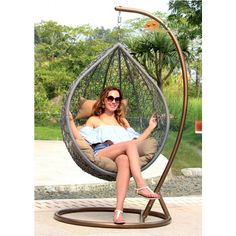 Buy Hanging Wicker Chair Swing Patio Outdoor Porch Garden Tan Cushion Tree Single at online store Hanging Hammock Chair, Swinging Chair, Outdoor Umbrella, Outdoor Chairs, Swing Chairs, Outdoor Furniture, Patio Daybed, Canopy Curtains, Outdoor Gazebos