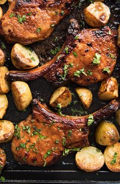 Oven Baked Pork Chops Slathered in a tasty rub made with pantry ingredients then baked to perfection Add some potatoes and veggies for a one sheet pan meal Roast Pork Chops, Pork Chops And Potatoes, Pork Ribs, Oven Baked Pork Chops, Marinated Pork Chops, Bbq Pork, Pernil, Recipetin Eats, Chops Recipe