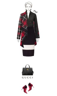 """Office outfit: Black - Red"" by downtownblues ❤ liked on Polyvore featuring Gucci and Anne Klein"