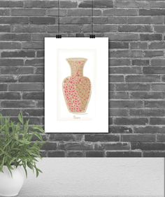 Fine Art Prints, Home Decor, Kitchen Wall Art, Kitchen Illustration:  Illustration of a classic ceramic vase with colorful patterns. A nice way to put a splash of color on an empty, dull wall.