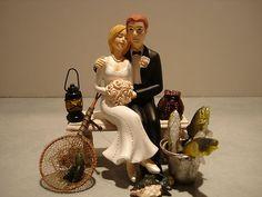 Loving Fish Fishing Wedding Cake Topper Bench Lantern Basket Pail Pole Net   $59.99