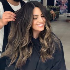 Ash blonde highlights on dark brunette Bayalage Dark Hair, Ash Blonde Highlights On Dark Hair, Brown Hair Balayage, Balayage Brunette, Dark Hair With Lowlights, Ash Brunette, Dark Balayage, Balayage Highlights, Hair Looks
