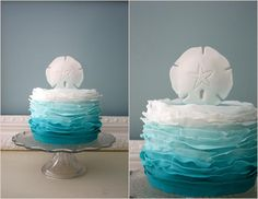 Blue ombre ruffle cake - Gigi-Mamma Cakes, sand dollar/starfish theme