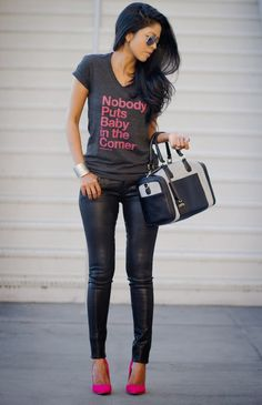 No one puts baby in the corner! [The Rising Phoenix.Black leather and hot pink street style Fashion Mode, Look Fashion, Autumn Fashion, Womens Fashion, Fashion Trends, Petite Fashion, Fashion Bloggers, Mode Outfits, Casual Outfits