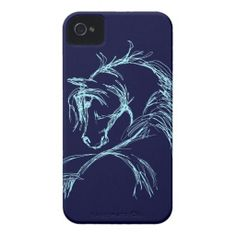 Artsy Horse Head Sketch iPhone 4 Cases