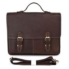 """Vintage Handmade Crazy Horse Leather Briefcase / Messenger / 15"""" Macbook Pro / 14"""" Laptop Bag"""