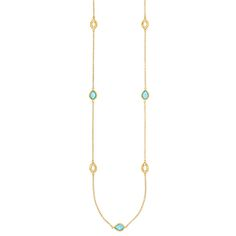 Anna Beck Turquoise Triplet Long Strand Necklace in 18K Plated Gold and Sterling Silver