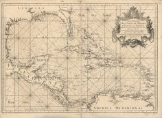 Maritime map of the Gulf of Mexico and the Caribbean region. Vintage Nautical, Vintage Maps, Antique Maps, Nautical Chart, Nautical Theme, Louisiana, Nautical Sleeve, Mexico Tattoo, Pirate Maps