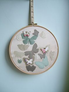 Hand Embroidery Framed Butterfly Appliqué by ByKatyMarie on Etsy, £29.00