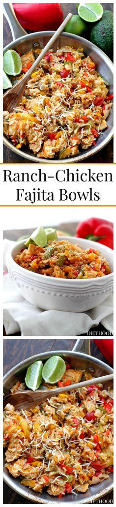 Ranch-Chicken Fajita Bowls