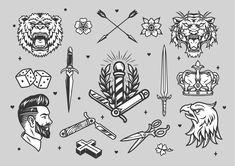 Monochrome tattoo vector icons. Download cool designs on www.dgimstudio.com.