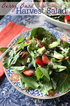 Berry Basil Harvest Salad - perfect for Passover of Easter Brunch. This salad is a huge hit - with fresh blueberries, strawberries, avocado and and homemade dressing!  CeceliasGoodStuff.com | Good Food for Good People