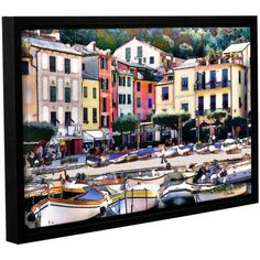 ArtWall Linda Parker Italy: Sunny Portofino Gallery-wrapped Floater-framed Canvas, Size: 12 x 18, Green