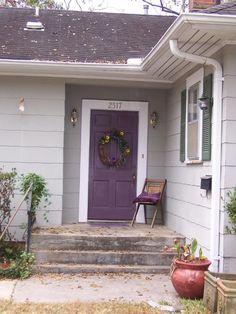 @Alicia Hanks - purple front door w/white trim & dark gray shutters.