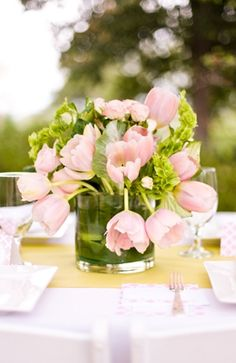 Summer, whimsical-bright, blushing, centerpieces, decor, floral, flowers, garden, greens, pink, reception, tulips, centerpiece