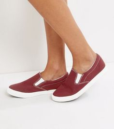2fcb18be915 Wide Fit Red Canvas Slip On Plimsolls