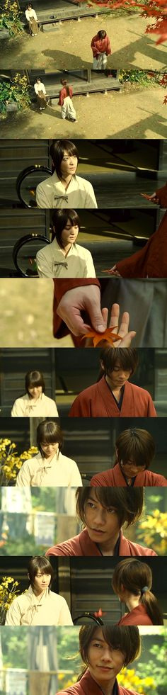 Kenshin: This is the most beautiful leaf. This is how I will live. Kaoru: Live … in this new age. Kenshin: Kaoru-dono … Will you watch over it with me? Kaoru: Eh? Rurouni Kenshin: The Legend Ends (Densetsu no Saigo-hen). Takeru Satoh as Kenshin Himura, Emi Takei as Kaoru Kamiya. #Kenkao