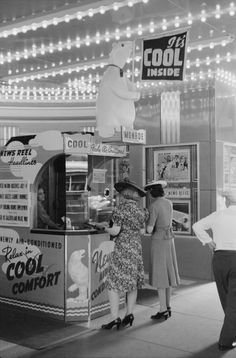 Movie theater in 1940 with that newfangled air conditioning!