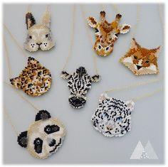 A whole zoo from miyuki beads Seed Bead Patterns, Jewelry Patterns, Beading Patterns, Seed Bead Jewelry, Bead Jewellery, Beaded Jewelry, Seed Beads, Beaded Bracelets, Miyuki Beads