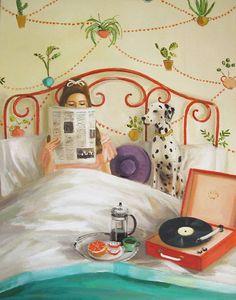 """Houseplants"" by Janet Hill Janet Hill, Illustrations, Illustration Art, Large Prints, Fine Art Prints, Title Card, Art Studios, Happy Mothers Day, Houseplants"