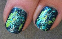 Teal Foil Abstract Nail Art Tutorial by Miss80million