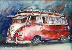 A Deluxe 15 Window VW Bus. Split Window VW by MichaelDavidSorensen