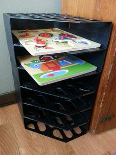 Puzzle storage! First garage sale score of the year.... $1 for a bunch of old magazine  holders.