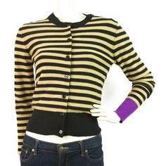 BNWT Sonia Rykiel Striped Black, Beige and Purple Twin Set Sz38