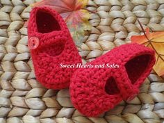 Red handmade crochet cotton baby Mary Janes shoes make a great gift because every girl needs a pair of red shoes!    Please stop by my Etsy shop at www.etsy.com/shop/sweetheartsandsoles for more baby booties, as well as baby and toddler accessories.