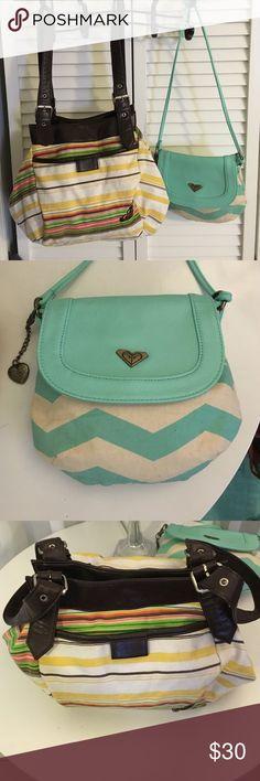 2 canvas Striped Roxy bags EUC Small aqua blue chevron print crossbody & medium Multi color Baha design handbag Roxy Bags Hobos
