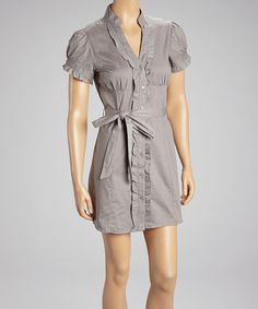 Take a look at this Gray Belted Button-Up Dress by She's Cool on #zulily today!