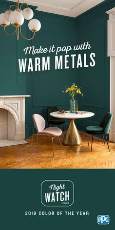 The nature-inspired, Night Watch is the PPG 2019 Color of the Year. Hand-selected by PPG's global color experts and stylists, this rich, luxurious, and classic shade of green will be at the forefront of design trends in Whether you're p Room Colors, House Colors, Gold Interior, Interior Plants, Interior Decorating, Interior Design, Decorating Tips, Dark Interiors, Paint Colors For Home