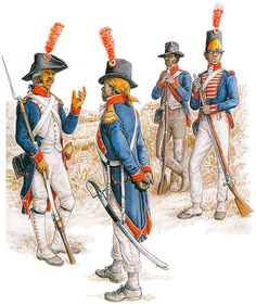 Napoleon's Overseas Army: Saint-Domingue, 1792-1802: Grenadier officer, Nat. Gd., 1792; Officer, Colonial Demi-Bde., 1798-1902; Private, Colonial Demi-Bde., 1802; Private, Colonial Demi-Bde., 1800-1802