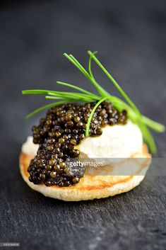 Blini with Sour Cream and Real Black Caviar Close-up Studio Shoot, Sour Cream, Stock Photos, Desserts, Black, Food, Tailgate Desserts, Black People, Meal