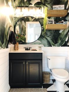 2018 Bathroom Remodel One Room Challenge Powder Room banana print wallpaper tropical bathroom inspiration