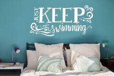 Keep Swimming Design wall decal  Inspirational quotes by LEVinyl