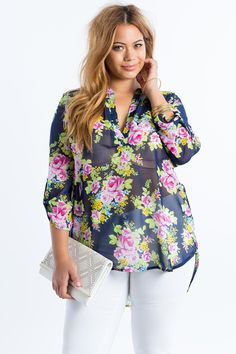 Women's Plus Size Blouses | Ariana Floral Blouse | A'GACI