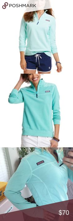 Vineyard Vines Shep shirt Women's Never worn. Only tried on for photo. They only sell this color in select store, not even online! 100% cotton-French terry. 1/4 zip long-sleeve pullover. Embroidered whale on back. Increased body width and body length about 1 inch for a roomier, relaxed, flattered fit. Vineyard Vines Sweaters
