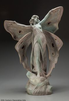 An Art Nouveau ceramic and glass inserts figure by Clara Pfeffer, France, circa 1900 #artnouveau #butterfly