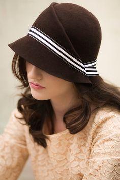 Brown Stripe Cloche Hat